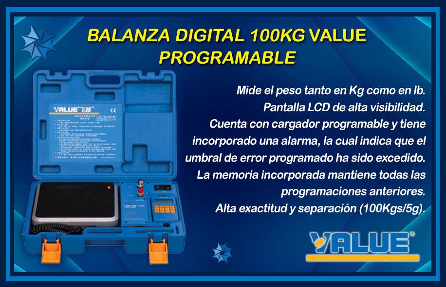 BALANZA VALUE 100 KG PROGRAMABLE descripción